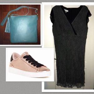 Silk Nine West Dress Black White